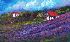 "Miniature Acrylic painting on canvas board- Lavender fields of Provence and house in the distance, from memory    Size: 5"" L x 3"" H    Makes a lovely gift for nature lovers!  Interior images if any may not be to exact scale. No mat or frame provided.    Please note that the colors of the original paintings may slightly vary from what they appear on computer monitors/mobile screens due to different camera/PC monitor/mobile screen resolution and settings.    Shipping by India Post's…"