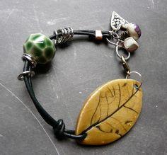 porcelain, leather, silver bracelet