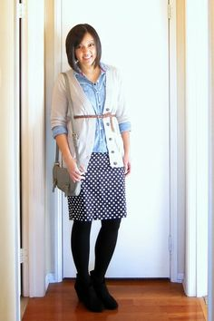Cardigan & belt over chambray (Many Ways to Wear a Polka Dot Pencil Skirt Article)