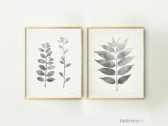 Set 2 Grey leaves and branches wall posters Black and white wall art DIY Printable home decor wall print Living room decor Botanical artwork by EphericaArt on Etsy