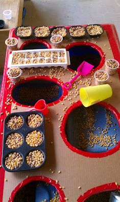 Creating a top for your sensory bin is as easy as finding some cardboard and taping the edges. By adding a new dimension that encourages spatial awareness, children will find new ways to interact with their sensory table!