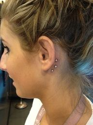 Microdermals behind ear...this is actually really cute