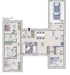 Les 36 meilleures images de plan maison plan maison - Plan maison plain pied 1 chambre ...