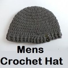 Mens #Crochet Hat Patterns  FREE. Chunky fashionable beanie style crochet hats for men. Perfect headwear this season, for the fashion conscious...
