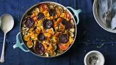 This hearty vegetarian take on the traditional hotpot has a pretty topping that contains plenty of hidden treasures.  Each serving contains 436kcal, 10g protein, 32g carbohydrate(of which 18g sugars), 27g fat (of which 8g saturates), 14 fibre and0.3g salt.