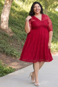 """Our Customer Service Sensation Natalie is gorgeous in our Swinging Symphony Dress. Natalie is 5'5"""" and wears a 0x/1x. Browse our entire collection of made in the USA styles at www.kiyonna.com. #kiyonnaplusyou"""