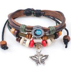 Genuine Leather Butterfly Charm Handmade Wrap Fashion Bracelet Wristband Adjustable