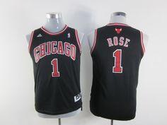 Adidas NBA Kids Chicago Bulls 1 Derrick Rose New Revolution 30 Swingman Youth Black Jersey