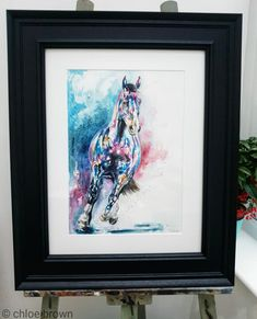 """⚜ Contemporary watercolour commission ⚜  This piece is really bursting with colour showing this boys true spirit and energy. I really enjoyed being bold with this one and adding interesting textures to go with his strong presence.  Horses name: Leni 🐴 """"I'm absolutely in love you've really taken my leni and made him truly magical I couldn't gave imagined it being any better!!""""- C Cox  A3 plus bespoke frame Watercolor Horse, Watercolour, Chloe Brown, Horse Names, Brown Art, Contemporary Artwork, Pet Portraits, Color Show, Original Artwork"""