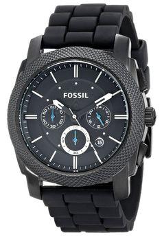 Fossil Men s Black Silicone Bracelet Black Analog Dial Chronograph Watch -  Fossil Men s Black Silicone Bracelet Black Analog Dial Chronograph Watch ... ec1c1c9fc0ec