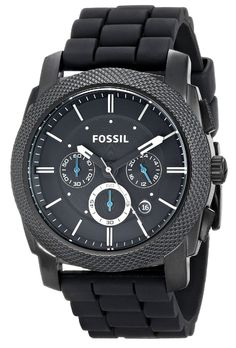 Amazon.com: Fossil Men's FS4487 Machine Chronograph Black Stainless Steel Watch with Silicone Band: Fossil: Watches