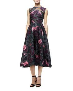 W0E7K Lela Rose Sleeveless Linear-Leaf Midi Dress