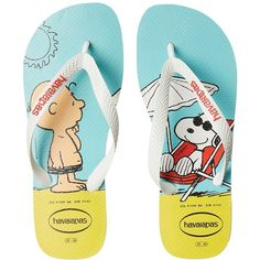 Havaianas Snoopy Flip Flops (White/White) Women's Sandals ($26) ❤ liked on Polyvore featuring shoes, sandals, flip flops, white flip flops, havaianas, havaianas sandals, synthetic shoes and havaianas flip flops