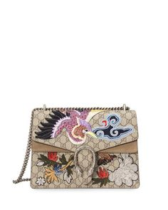 L0MW2 Gucci Dionysus Embroidered GG Supreme Canvas Shoulder Bag, Multi