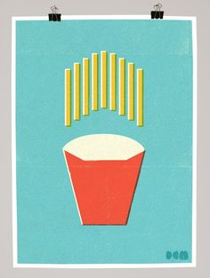 Fast food illustrations from Dale Murray. Understated colors. Simple shapes.