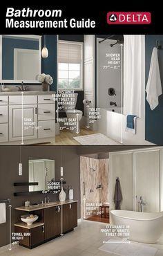 In a perfectly balanced bathroom, you probably won't notice the height or proportion of things because they feel right. If you're planning a bathroom renovation or just want to add a few improvements, keep these numbers in mind. Bathroom Renos, Bathroom Renovations, Home Remodeling, Bathroom Ideas, Bathroom Makeovers, Washroom, Bathroom Designs, Bathroom Furniture, Delta Shower Heads
