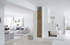 A place for firewood in the perfect white interior! Living Room Interior, Home Interior Design, Nordic Interior, Interior Livingroom, Minimalist Interior, Living Area, Living Spaces, Home Goods Decor, Home Decor
