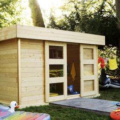Une cabane de jardin comme salle de jeu pour les enfants