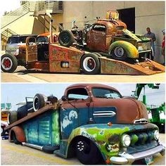Rat Rod Transport.......... ll.     #choppedanddropped #slammed          #hammered #patina # # #rusty #rollinrusty #patinadtrucks #rust       #coe #cabover # #  .Rat Hauler combo .
