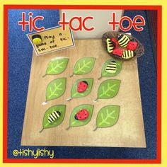 Ladybug & Bee Tic-Tac-Toe (from TishyLishy) Maths Eyfs, Eyfs Classroom, Eyfs Activities, Classroom Displays, Jungle Activities, What The Ladybird Heard Activities, Minibeasts Eyfs, Finger Gym, Early Years Classroom