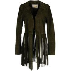 Vintage De Luxe Blazer ($450) ❤ liked on Polyvore featuring outerwear, jackets, blazers, military green, faux suede fringe jacket, leather jackets, blazer jacket, faux leather jacket and suede fringe jacket