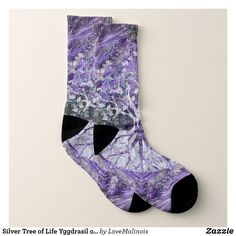 Silver Tree of Life Yggdrasil on Amethyst Geode Socks - Fancy Customizable All-Over-Print Crew Socks By Talented Fashion And Graphic Designers - #socks #stockigns #mensfashion #apparel #shopping #bargain #sale #outfit #stylish #cool #graphicdesign #trendy #fashion #design #fashiondesign #designer #fashiondesigner #style