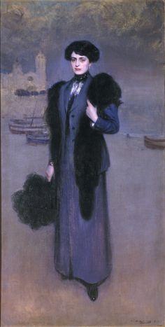 Portrait de Dolores Vidal, 1911 by Ramon Casas i Carbó (Catalan/Spanish 1866-1932)
