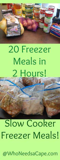 20 Meals in 2 Hours Slow Cooker Freezer Meals! - Who Needs A Cape? Freezer Meal Party, Slow Cooker Freezer Meals, Make Ahead Freezer Meals, Crock Pot Freezer, Dump Meals, Freezer Cooking, Frugal Meals, Cheap Meals, Freezer Dinner