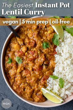 EASY Instant Pot Red Lentil Curry Vegan Indian Recipes, Lentil Recipes, Veggie Recipes, Whole Food Recipes, Healthy Recipes, Veggie Meals, Top Recipes, Crockpot Recipes, Lentil Dishes