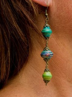 paper bead jewelry designs | Paper Bead Earrings! Totally Up-cycled and beautiful
