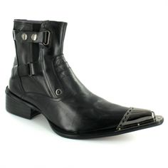 Gucinari B2628-17 Mens Premium Leather Side Zip Toe Cap Designer Ankle Boots - Black Groom shoes