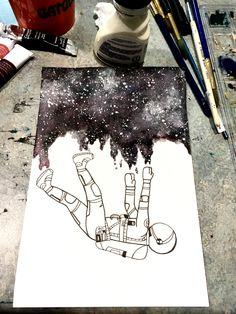 Astronaut Helmet Galaxy Watercolor Denim In 2019