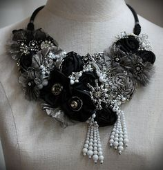 MOON RIVER Black and White Mix Media Textile Statement Necklace