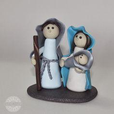 presépio em FIMO azul   nativity scene blue