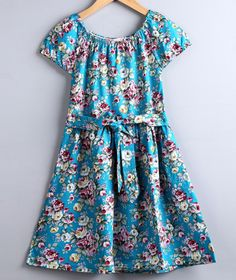 Product:dress Color:aqua blue Material:cotton Style:casual,printed Sleeve:short Dress length:knee length AVAILABLE SIZES: 3T,4T,5T,6T AVAILABLE colors:navy blue,white and aqua blue TIP:can be a gift t