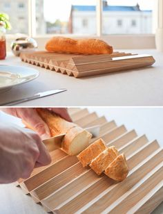 This cutting board is designed to help you cut perfect slices of baguette.