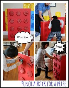 Punch-a-brick for lego party   Easy DIY lego party activity, lego birthday party ideas
