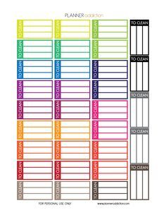 Free Printable Planner Stickers - To Clean - Large Happy Planner