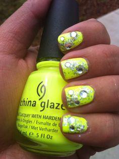 neon glitter nail art
