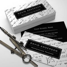business card for english tutor math teacher stylish mathematics formulas pattern business card reheart Gallery