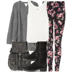 """""""Malia Inspired Outfit with Rose Print Leggings"""" by veterization on Polyvore"""