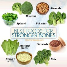 Best foods for strong bones. Note the absence of any dairy products -- great news for people who have reduced or eliminated that group from their diets,