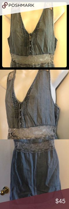 NWT Free People denim lace jean dress-S New with plain white outlet tag ( b0cc189e3e