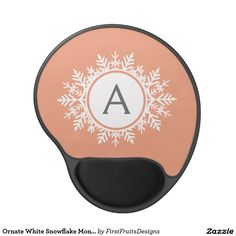 Ornate White Snowflake Monogram on Soft Coral Pink Gel Mouse Pad