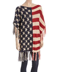 Love this Red & White American Flag Fringe Poncho by Imperial on #zulily! #zulilyfinds
