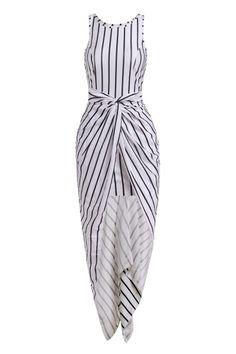 Vertical Stripes Asymmtrical Racerback Maxi Dress - WHITE AND BLACK S  Mobile Abiti Lunghi Bianchi b236e1e3280