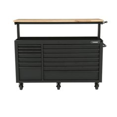 Husky Heavy-Duty 62 in. W 14-Drawer, Deep Tool Chest Mobile Workbench in Matte Black with Adjustable-Height Hardwood Top-HOLC6214BB1MYS - The Home Depot Tool Storage Cabinets, Storage Organization, Husky Tool Box, Mobile Workbench, Soft Close Drawer Slides, Electronic Recycling, Work Surface, Innovation Design, Matte Black