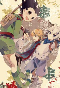 Gon, Leorio, Kurapika, and Killua