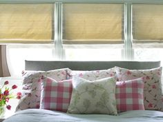 A mix of spring greens creates a backdrop for smaller pops of blush and raspberry tones throughout the bedding ensemble. Dining Room Contemporary, Dreamy Bedrooms, Cottage Style, Cottage Bedroom, Cottage Style Bedrooms, Home, Bedroom Design, Shabby Chic Bedroom, Chic Bedroom Design