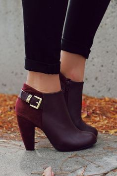 Wine Gold Buckle Detail Bootie